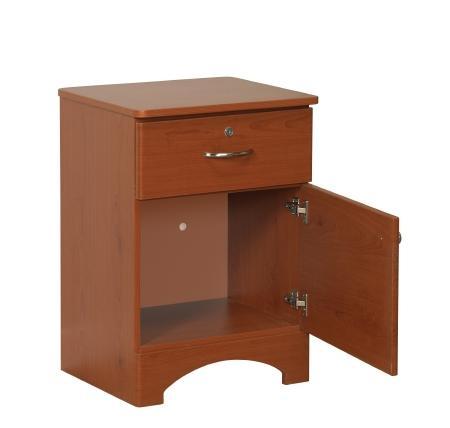 Oslo Bedside Cabinet 1 Drawer / 1 Door Figured Mahogany