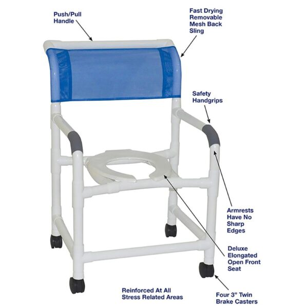 MJM Shower Chair - Standard Line Shower Chair w/ Commode Opening 22 inch