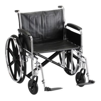 "Wheelchair 18"" Vinyl Full Length Permanent Arms W/ Swing Away Leg Rests"