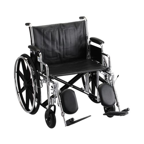 """Wheelchair 18"""" Vinyl Full Length Permanent Arms W/ Elevated Leg Rests"""